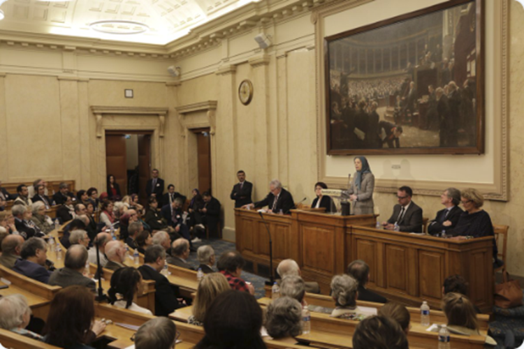 Iranian opposition President Maryam Rajavi - National Assembly - Paris, France