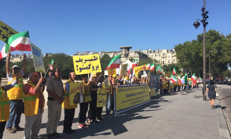 Protests Continue Against Iranian Regime FM's Visits to European Countries - Iranians Demand Javad Zarif's Expulsion from Paris