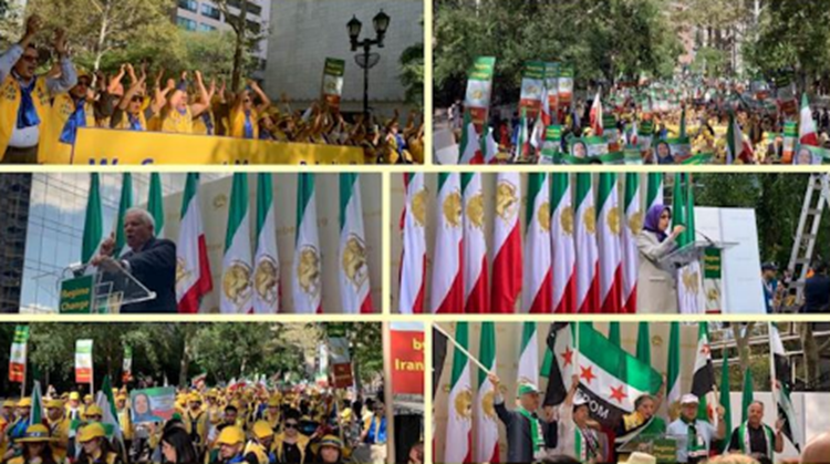"""PMOI/MEK supporters hold massive """"No to Rouhani"""" rally in New York"""