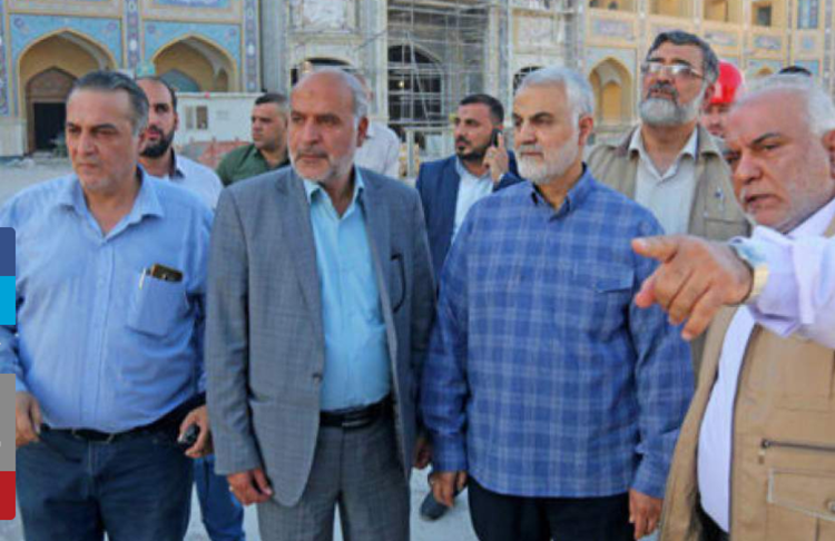 IRGC Brigadier General Hassan Polarak with Qassem Soleimani visiting a place