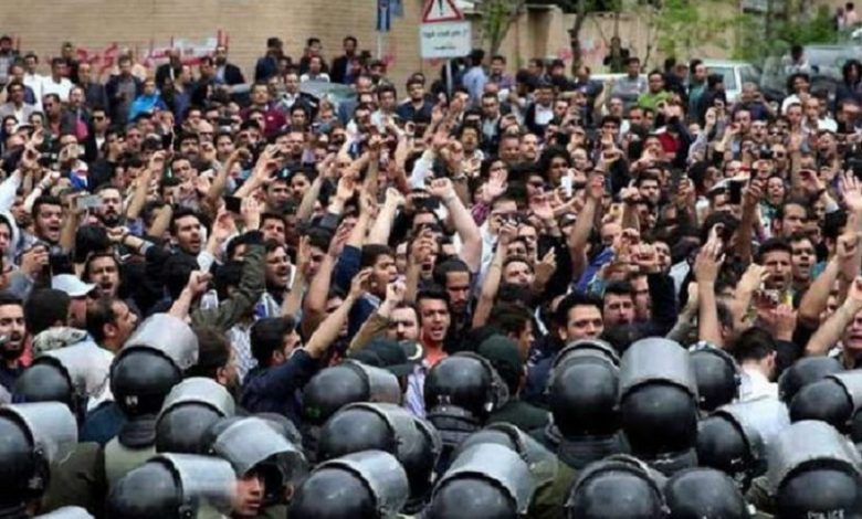 Iran- Protesters block a road during a demonstration in Shiraz- November 16, 2019