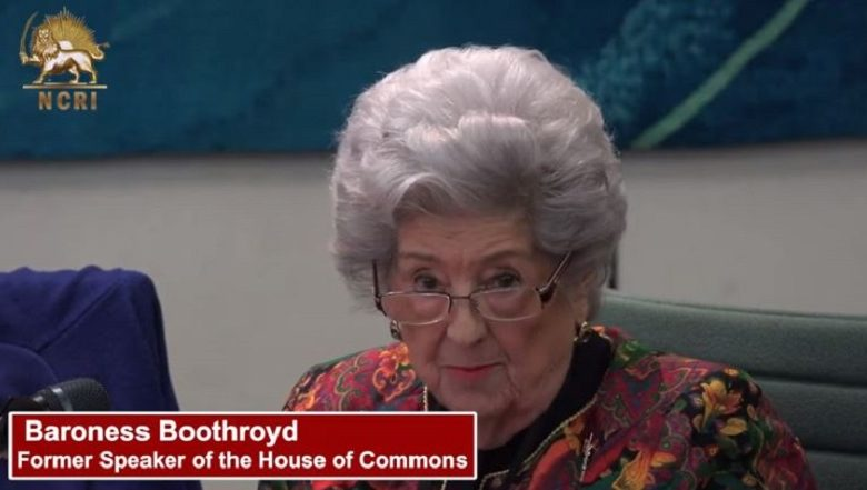 Former Speaker of the House of Commons, Baroness Boothroyd