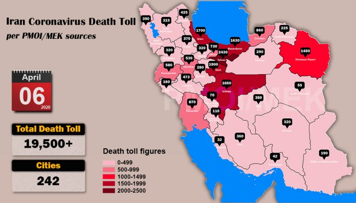 Iran: coronavirus update, 19,500 deaths, April 6, 2020