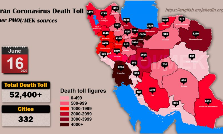 Over 52,400 dead of coronavirus (COVID-19) in Iran-Iran Coronavirus Death Toll per PMOI MEK sources