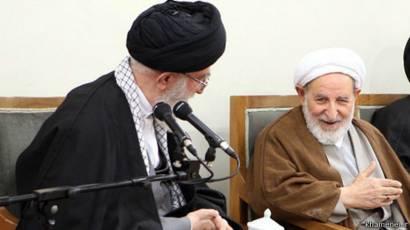Ali Khamenei and Mohammad Yazdi, former head of the Iranian regime's judiciary
