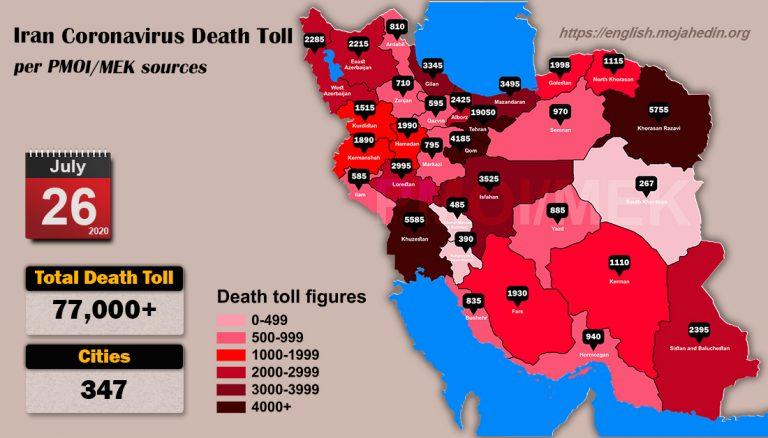 Iran: Coronavirus Death Toll in 347 Cities Exceeds 77,000