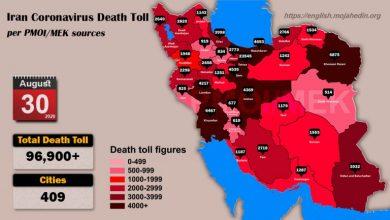 Iran: Coronavirus Death Toll in 409 Cities Exceeds 96,900