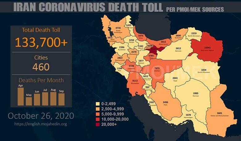 Iran: Coronavirus Death Toll in 460 Cities Exceeds 133,700