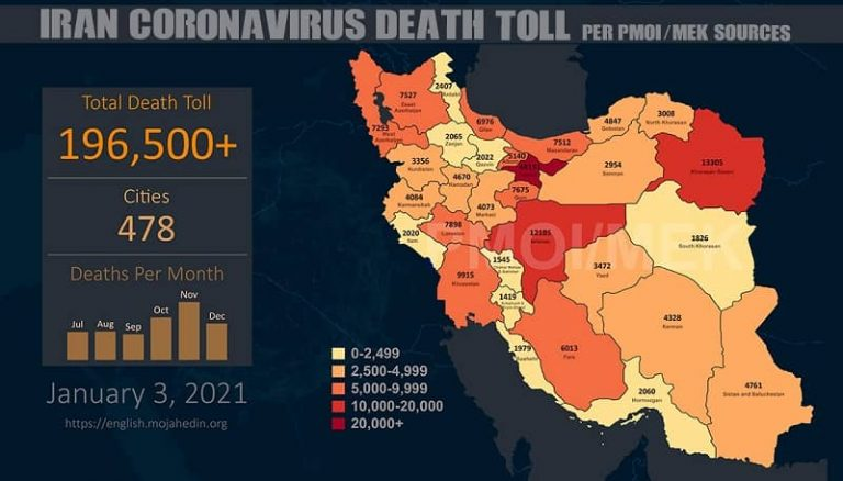 Iran: Coronavirus Death Toll in 478 Cities Surpasses 196,500