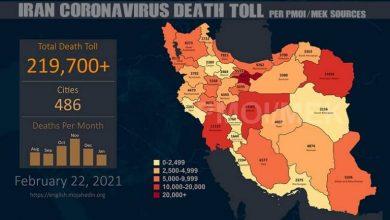 Photo of Iran: Coronavirus Death Toll in 486 Cities Exceeds 219,700