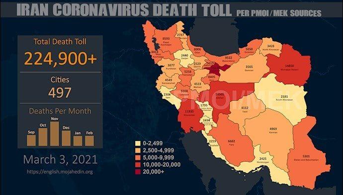 Coronavirus Takes 224,900 Lives in Iran in 497 Cities