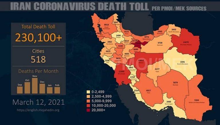 Iran: Coronavirus Death Toll in 518 Cities Exceeds 230,100
