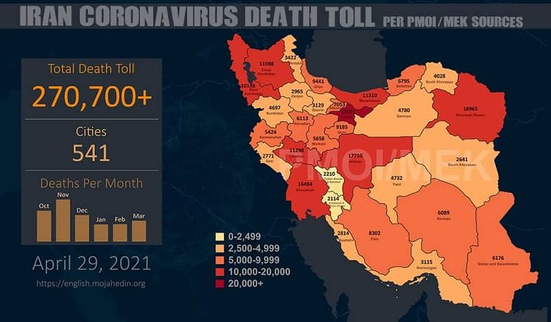 Iran: COVID-19 Fatalities in 541 Cities Exceed 270,700